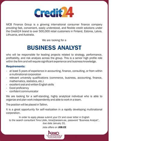 cv keskus t 246 246 pakkumine business analyst