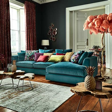 teal living room furniture harrington large chaise lhf lumino teal corner sofas living room doma