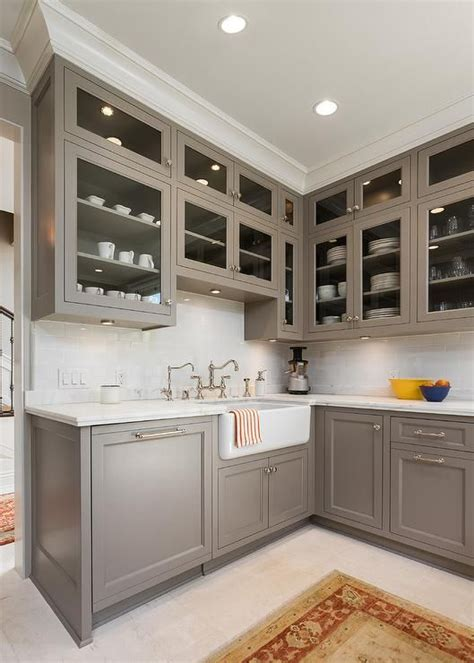 grey cabinets kitchen painted cabinet paint color is river reflections from benjamin