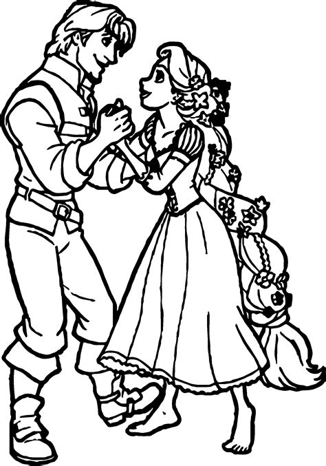 rapunzel and flynn meet coloring page wecoloringpage