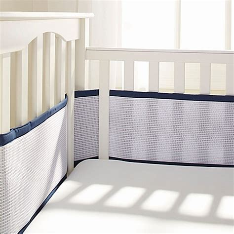Crib Mattress Liner Breathable Baby 174 Deluxe Breathable Mesh Crib Liner In Navy Buybuy Baby