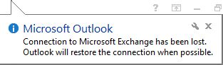 Office 365 Outlook Loses Connection Disabling Network Popups
