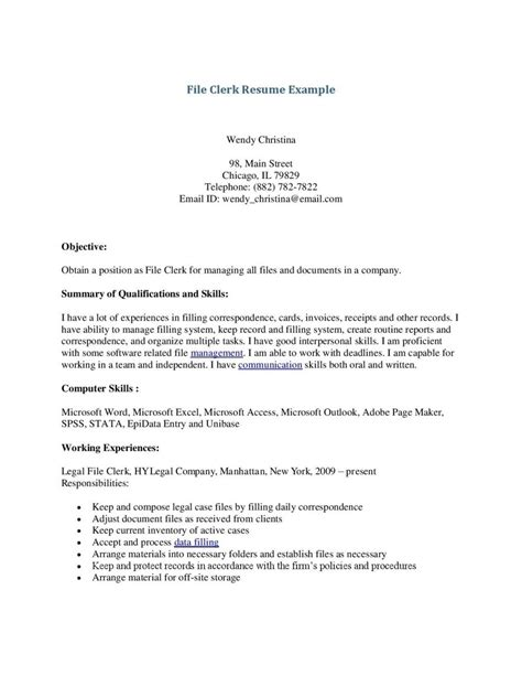 file clerk resume template learnhowtoloseweight net