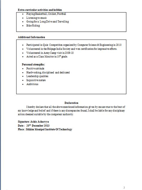 Resume Format Pdf For 12th Pass Student Tabular Resume Format