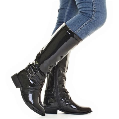 womens black patent stretch wide calf knee high