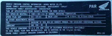 Ducati Emissions Sticker by Out Of State Registration In Ca Barf Bay Area Riders Forum