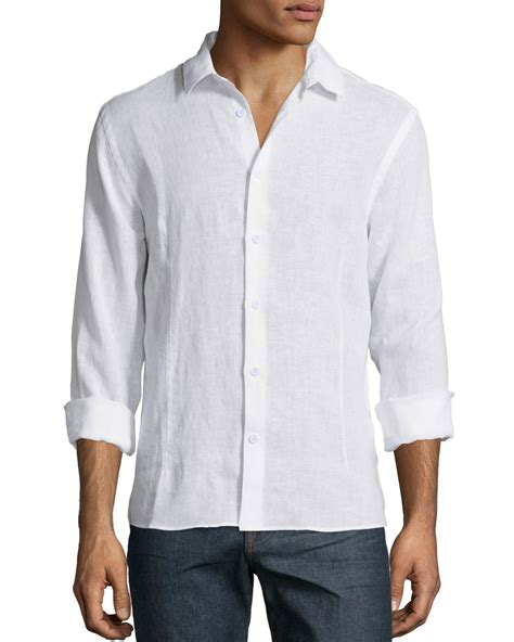Sleeves Linen Shirt orlebar brown solid sleeve linen shirt in white for