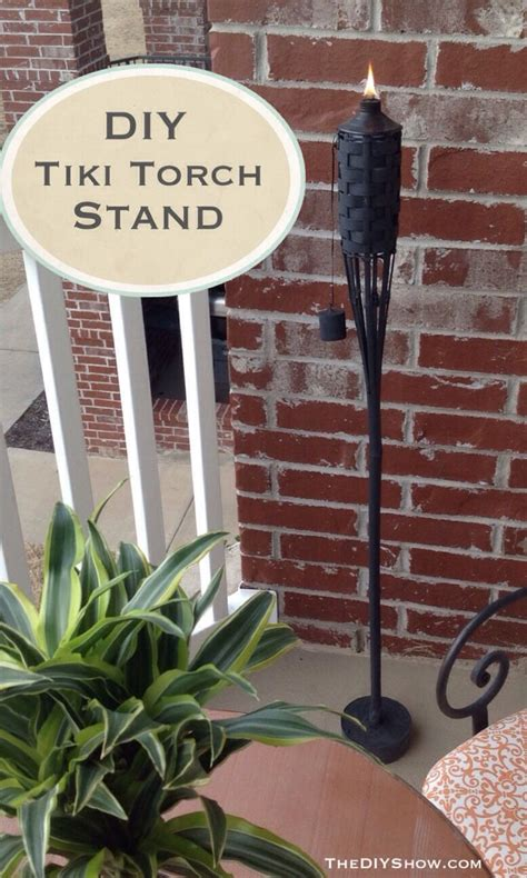 diy tiki torch stand stuck pole   pot  concrete