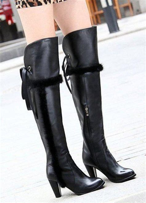 real leather cuffed the knee thigh high boots plus