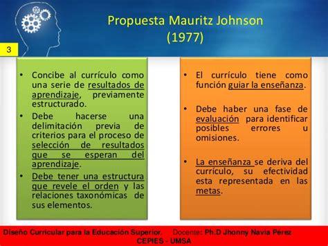 Modelo Curricular De Mauritz Johnson Dise 241 O Curricular Para La Educaci 243 N Superior Cepies Umsa