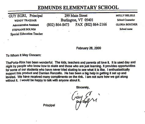 Reference Letter For Elementary Edmunds Elementary School Letter Of Recommendation