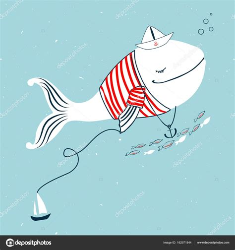 cartoon boat background white whale in shirt stripes with paper boat anchor
