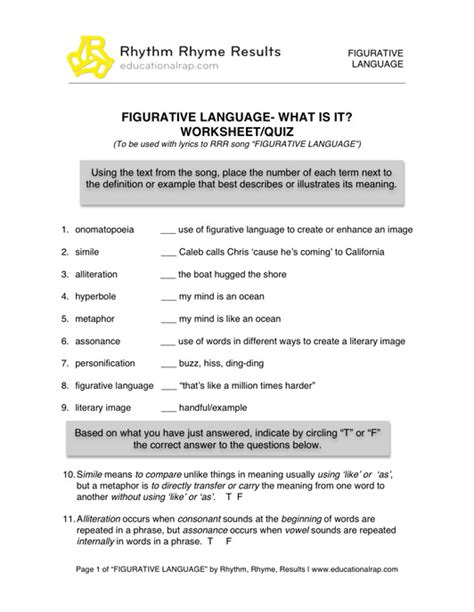 all worksheets 187 figurative language worksheets grade 6