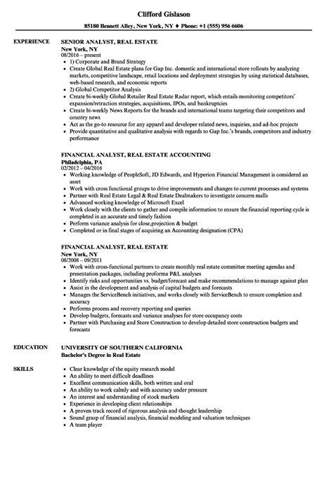 Resume Real Estate Investment Analyst analyst real estate resume sles velvet