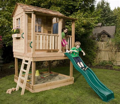 backyard clubhouse for kids elevated playhouse with sandbox plans pdf woodworking