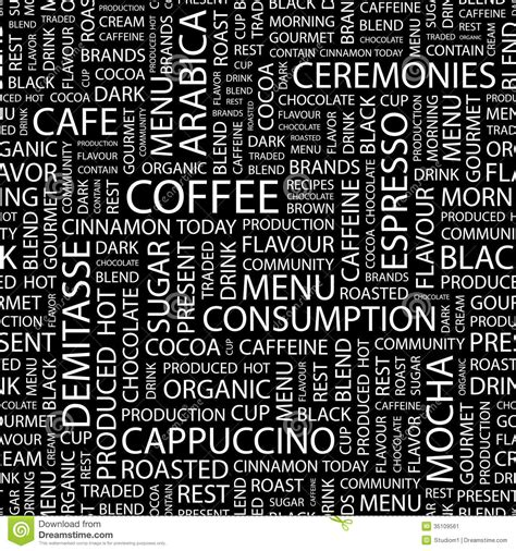 el pattern words coffee stock image image 35109561