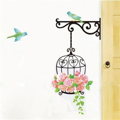 flower bird cage removable wall sticker living room decor