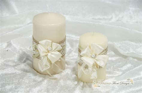 candele shabby chic coppia candele shabby chic creazioni floreali addobbi