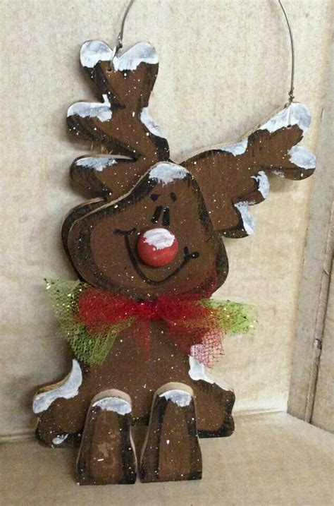 cute reindeer wood craft crafts christmas pinterest