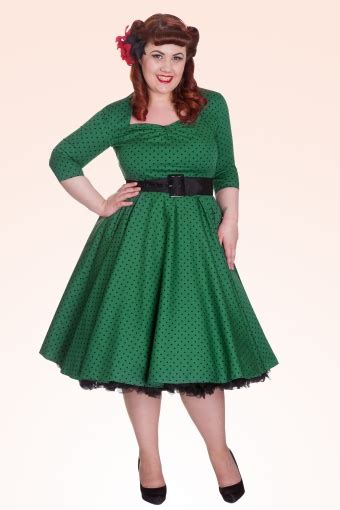 Momo Dress 50s momo swing dress green black polka dot