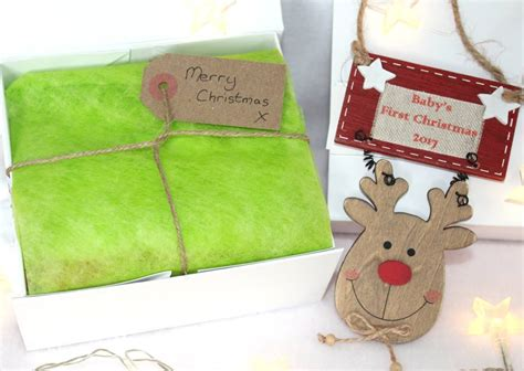 personalised baby s first christmas reindeer gift box by