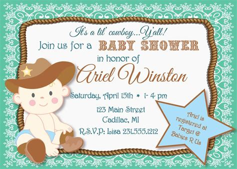 Western Baby Shower by Lil Cowboy Baby Shower Invitation Sbgb90 Storkbabygiftbaskets