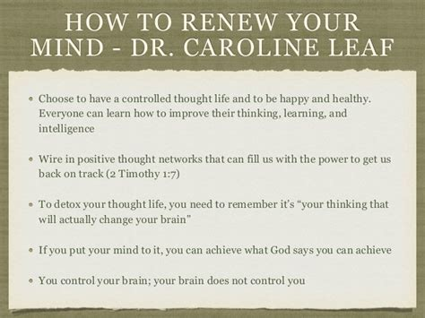 Caroline Leaf Detox Your Brain by Mental Wholeness The Process Of Renewing Your Mind Dr