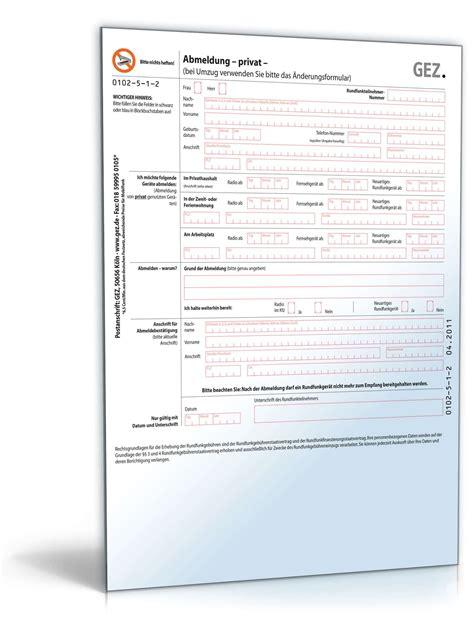 Musterbrief Zur Abmeldung Der Gez Gebührenpflicht Gez Abmeldung