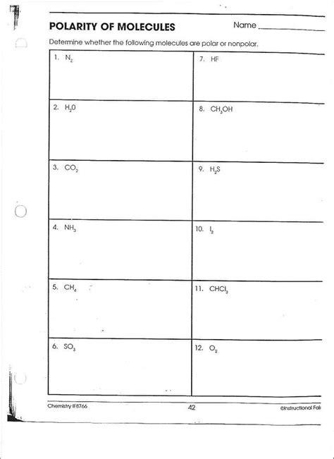 polarity worksheet answers polarity of molecules worksheet worksheets ratchasima