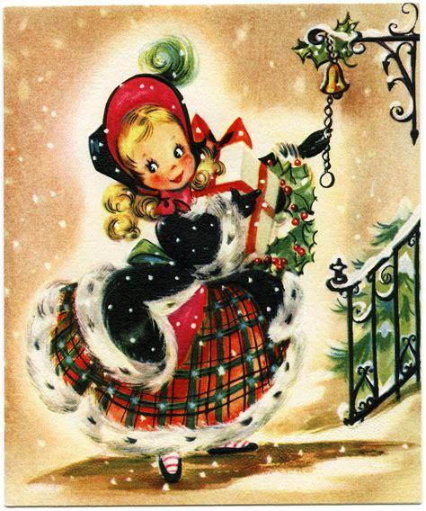 printable vintage greeting cards old design shop free printable christmas card girl