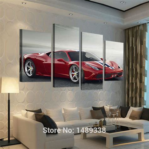 printable car wall art 4 pcs red sports car wall art picture home decoration