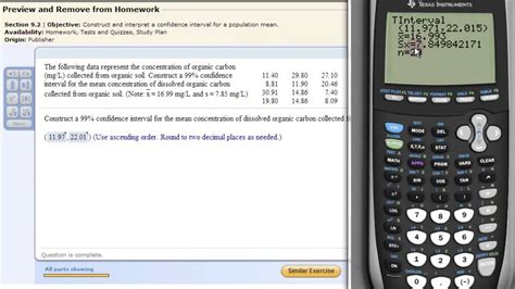 calculator level 84 constructing confidence intervals on means with the ti83