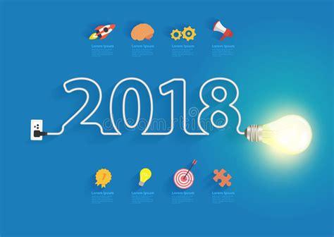new year 2018 ideas creative light bulb idea with 2018 new year stock vector