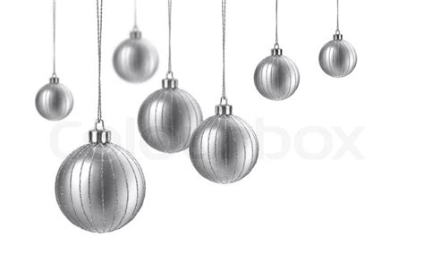 Model Home Decorations silver matte christmas decoration balls hanging on white