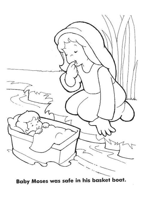 baby moses coloring page moses baby moses was safe in his basket boat coloring