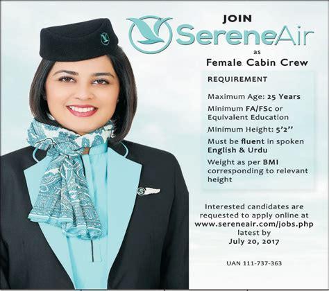 cabin crew application form serene air pakistan 2017 cabin crew islamabad