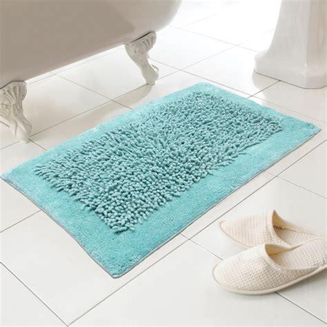 Aqua Bath Rugs by Noodles 100 Cotton Textured Washable Bath Mat Rug In