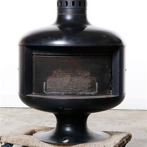Drum Fireplace by 1970s Black Enamel Drum Freestanding Gas Fireplace At
