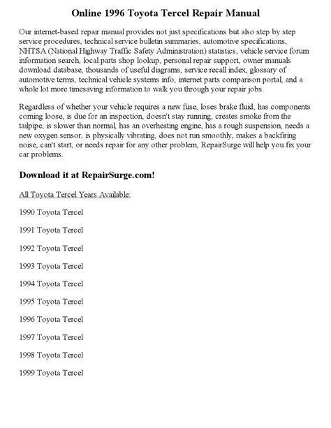 motor repair manual 1996 toyota tercel parking system 1996 toyota tercel repair manual online by georgeblinkey issuu