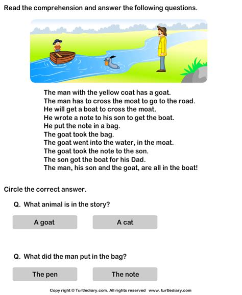simple boat 7 little words reading comprehension stories turtlediary ideas
