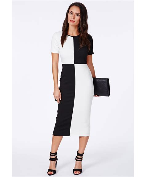 Monochrome Midi Dress lyst missguided fabiana monochrome colour block midi