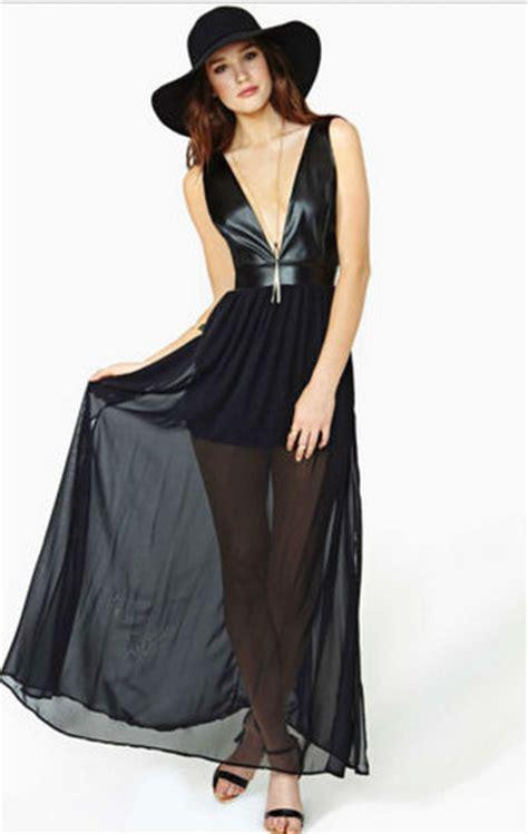 Dress Cewek Wanita Maxi Seethru Dress Black dress black see through maxi dress maxi wheretoget