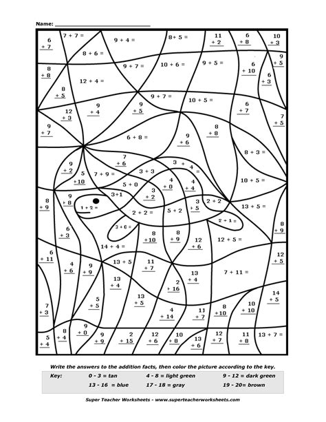 color by number addition worksheets 15 best images of worksheets coloring pages