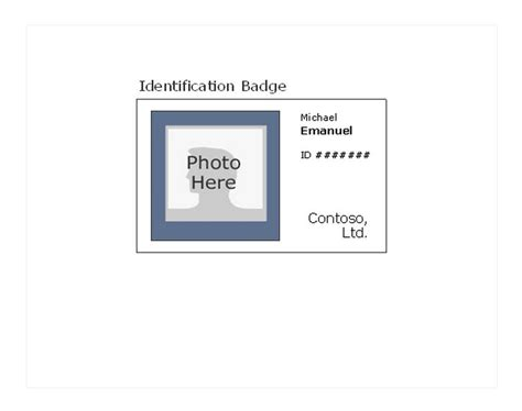 work id card template free printable photo id badges printable photo id badge template