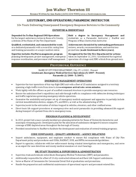 Emt Resumes by Ems Management Lieutenant Paramedic Instructor Resume Sle