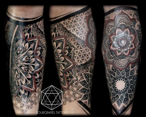 leg sleeve tattoo mandala dotwork leg sleeve mandalas tattoos