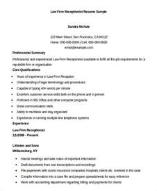 Telephone Receptionist Sle Resume by Receptionist Resume Exle 9 Free Word Pdf Documents Free Premium Templates