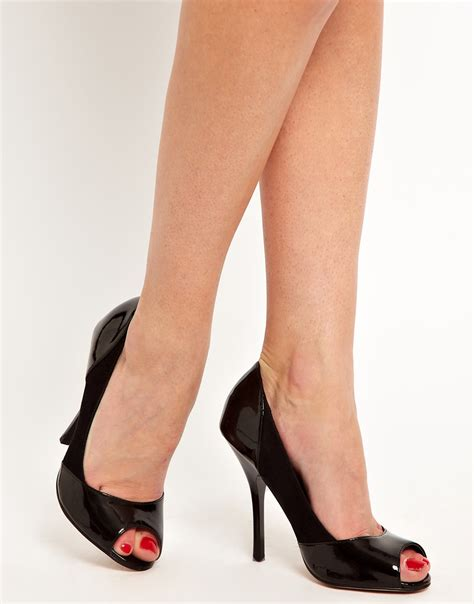 high heels with asos collection peachey high heels with peep toe in black