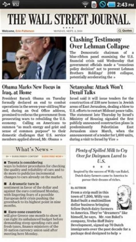Wsj Personal Journal Section by Wall Journal Comes To Android In Tablet Form Only