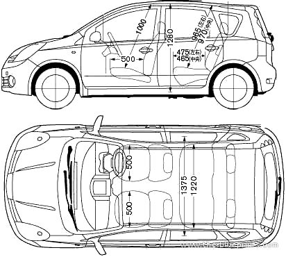Kaos Note Note 29 Bv blueprints gt cars gt nissan gt nissan note 2005